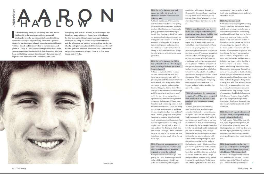 Aaron Hadlow int - TheKiteMag Issue #1