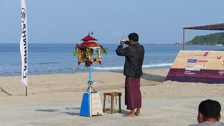 Travelling Buddhist Monk blesses the Myanmar Wave Rider Cup - Myanmar Wave Rider Cup and KTA Race Open