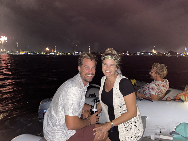 Watching fireworks from the dinghy copy - Yndeleau EP 06: Bonaire - Foiling for the first time